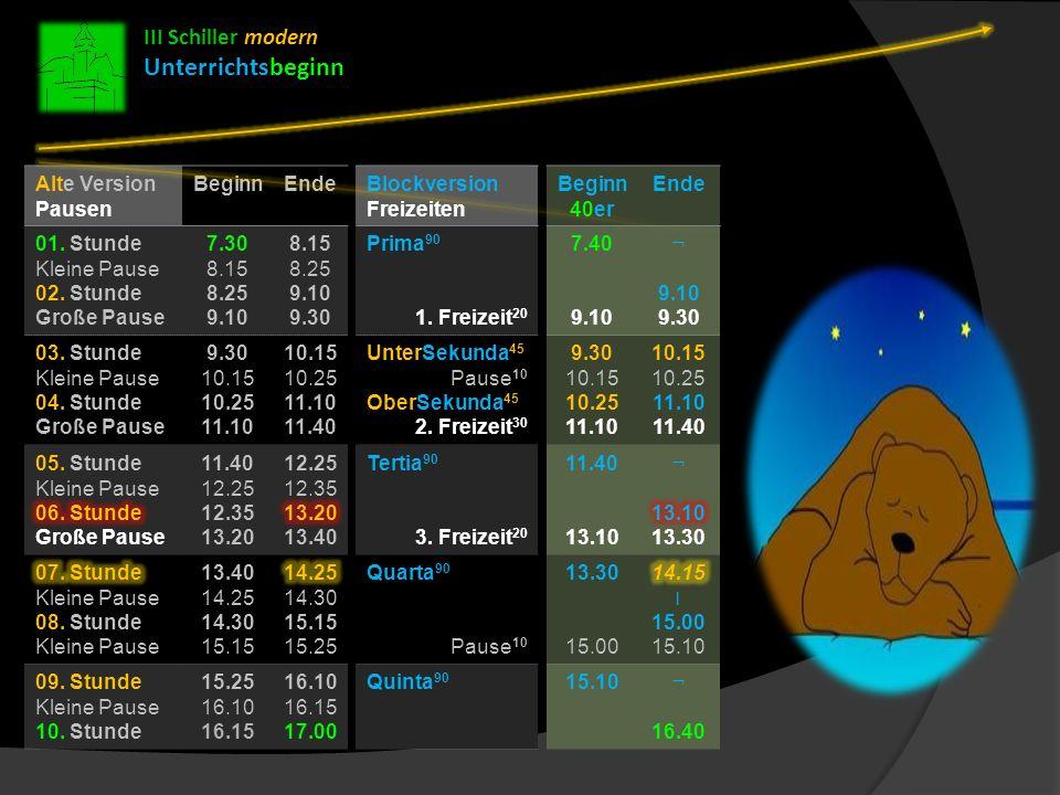 Unterrichtsbeginn III Schiller modern Alte Version Pausen 01. Stunde