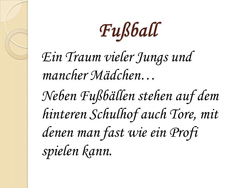 Fußball Ein Traum vieler Jungs und mancher Mädchen…