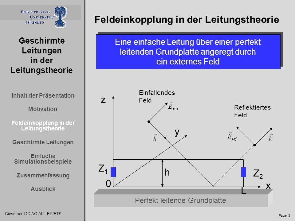 Feldeinkopplung in der Leitungstheorie