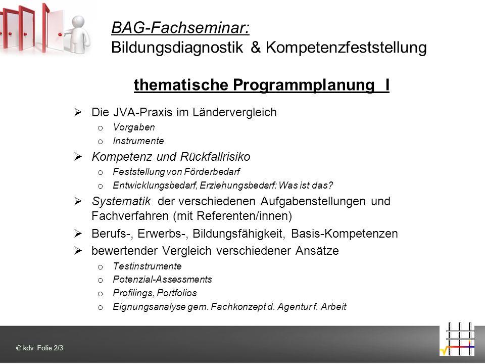 BAG-Fachseminar: Bildungsdiagnostik & Kompetenzfeststellung