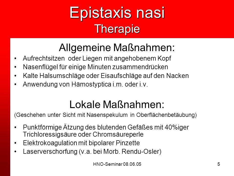 Epistaxis nasi Therapie