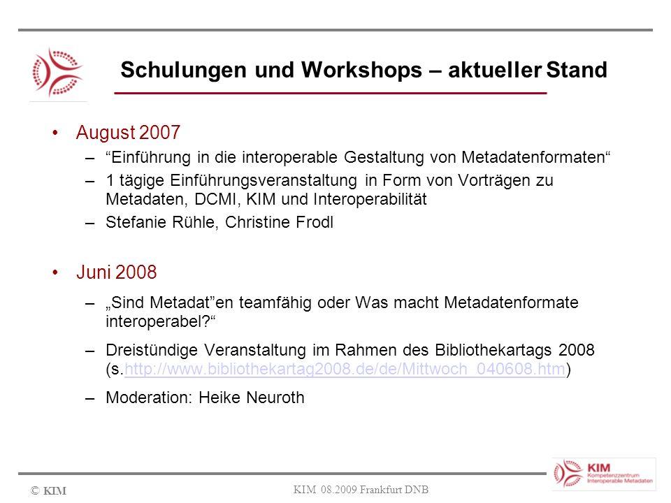 Schulungen und Workshops – aktueller Stand