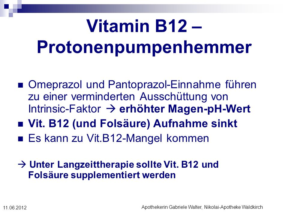 Vitamin B12 – Protonenpumpenhemmer