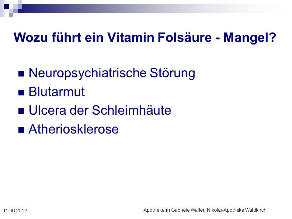 Wozu führt ein Vitamin Folsäure - Mangel