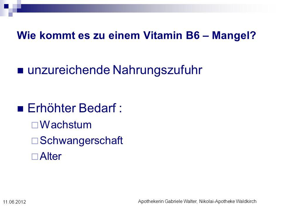 Wie kommt es zu einem Vitamin B6 – Mangel