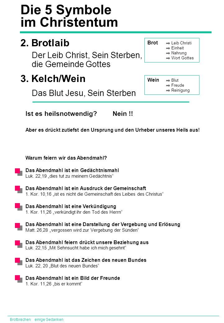 Die 5 Symbole im Christentum 2. Brotlaib 3. Kelch/Wein