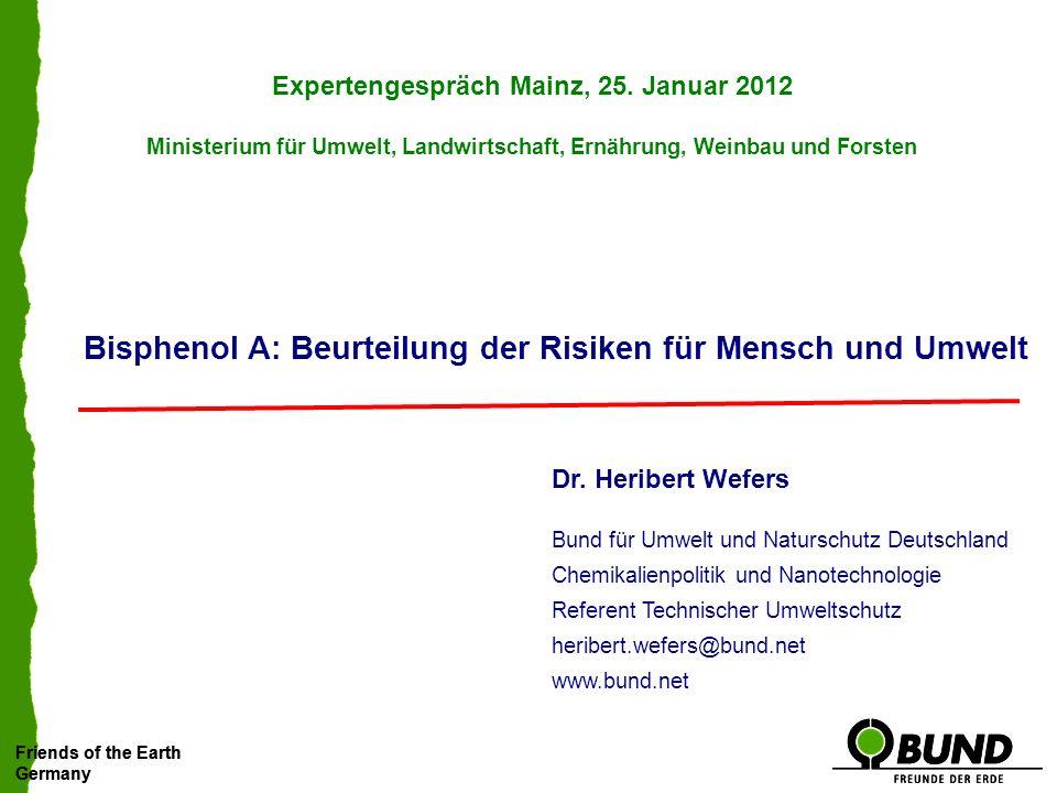 Bisphenol A: Beurteilung der Risiken für Mensch und Umwelt