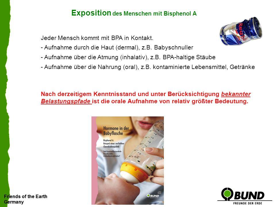 Exposition des Menschen mit Bisphenol A