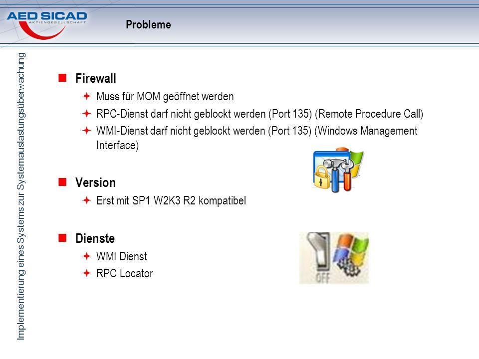Firewall Version Dienste Probleme Muss für MOM geöffnet werden