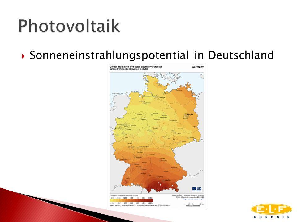 Photovoltaik Sonneneinstrahlungspotential in Deutschland