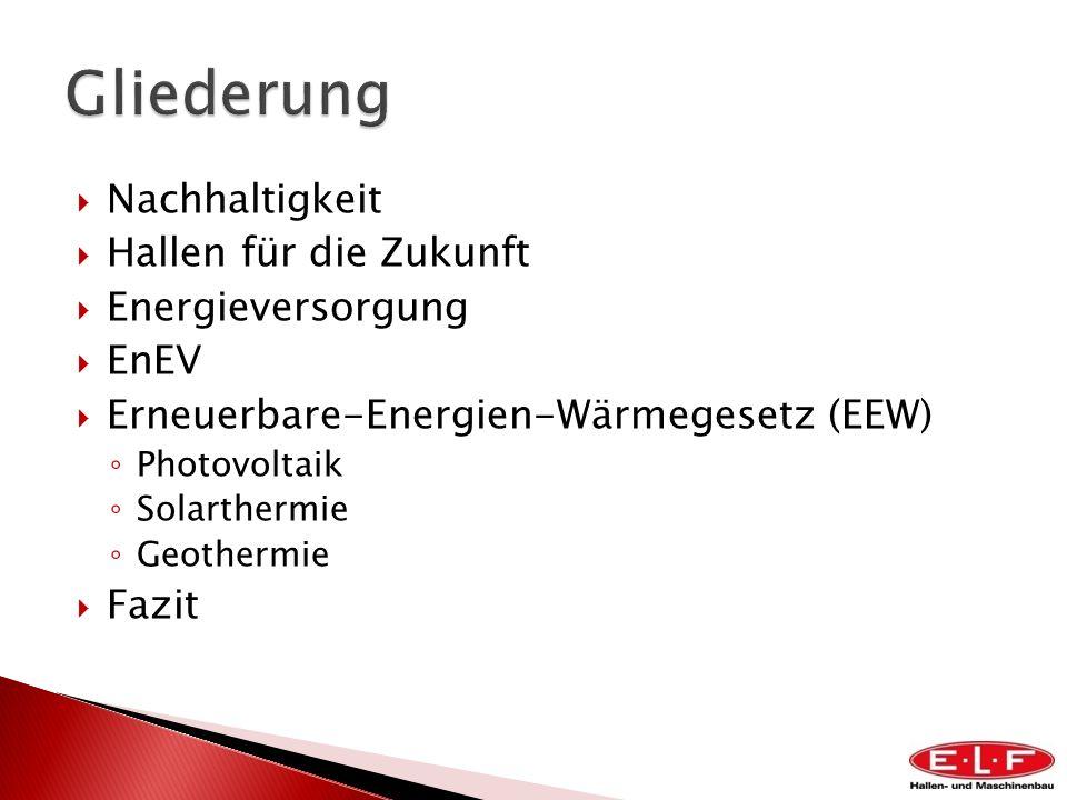 Gliederung Nachhaltigkeit Hallen für die Zukunft Energieversorgung