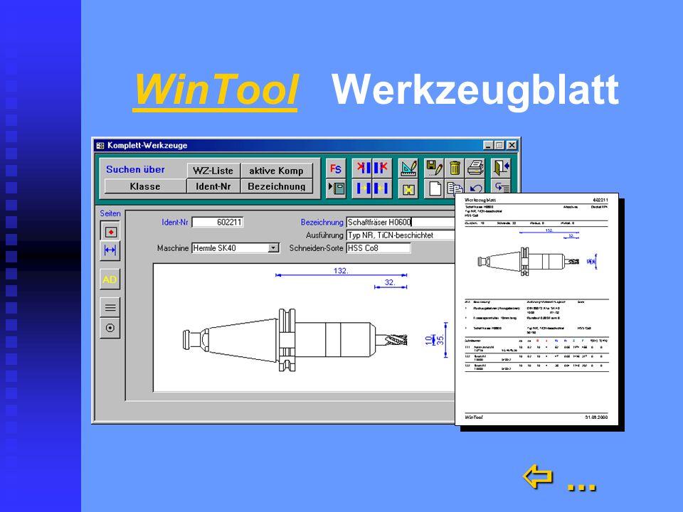 WinTool Werkzeugblatt