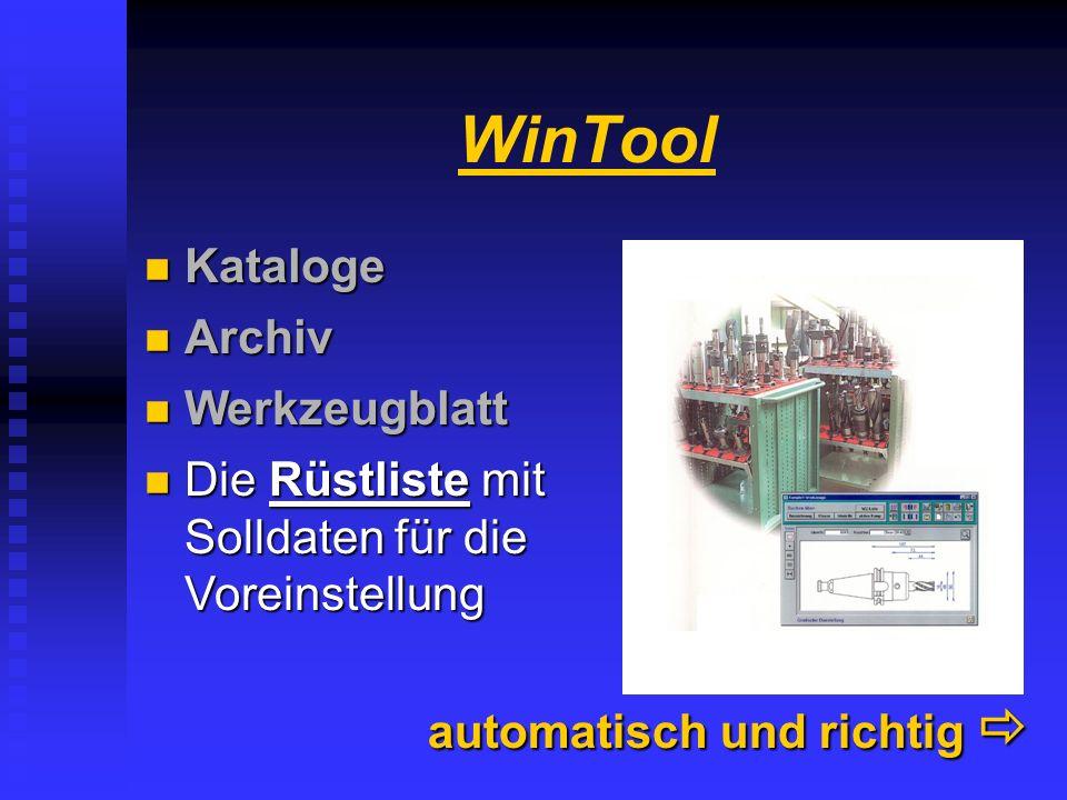 WinTool Kataloge Archiv Werkzeugblatt