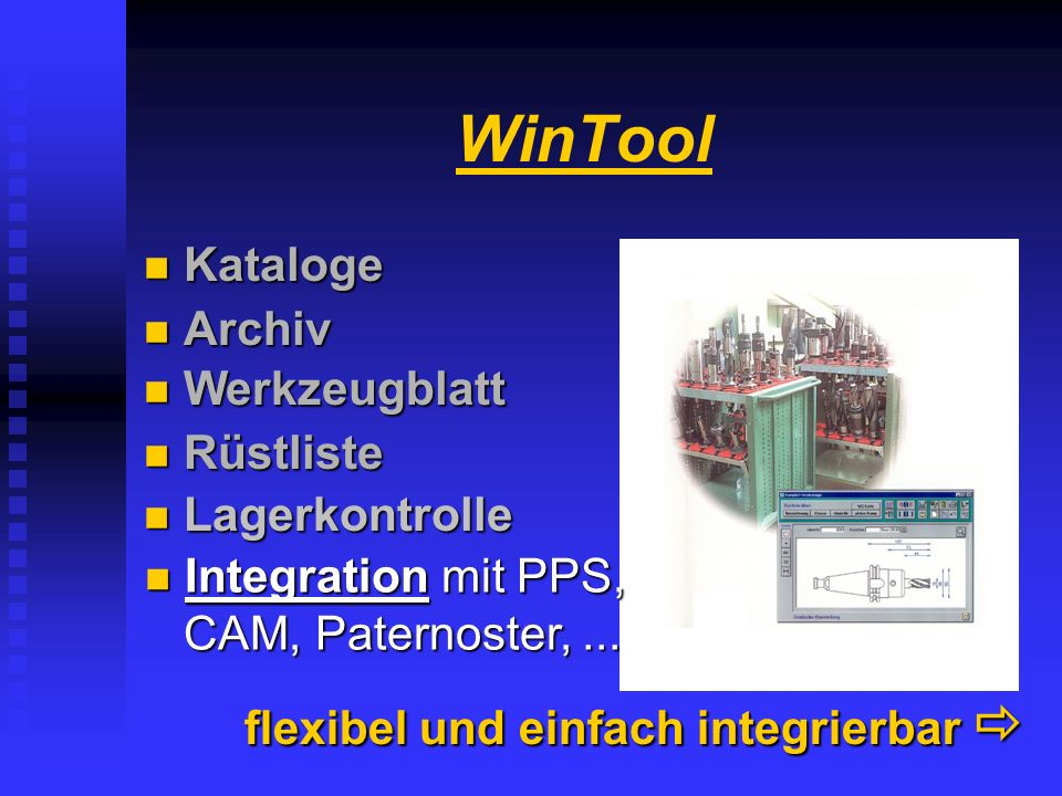 WinTool Kataloge Archiv Werkzeugblatt Rüstliste Lagerkontrolle