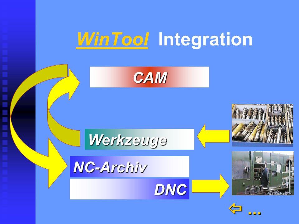 WinTool Integration  ... CAM Werkzeuge NC-Archiv DNC