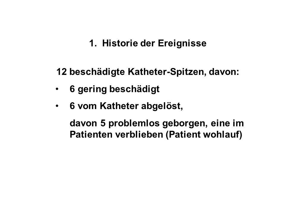 1. Historie der Ereignisse 12 beschädigte Katheter-Spitzen, davon: