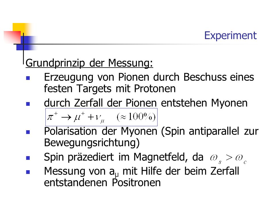 Experiment Grundprinzip der Messung: