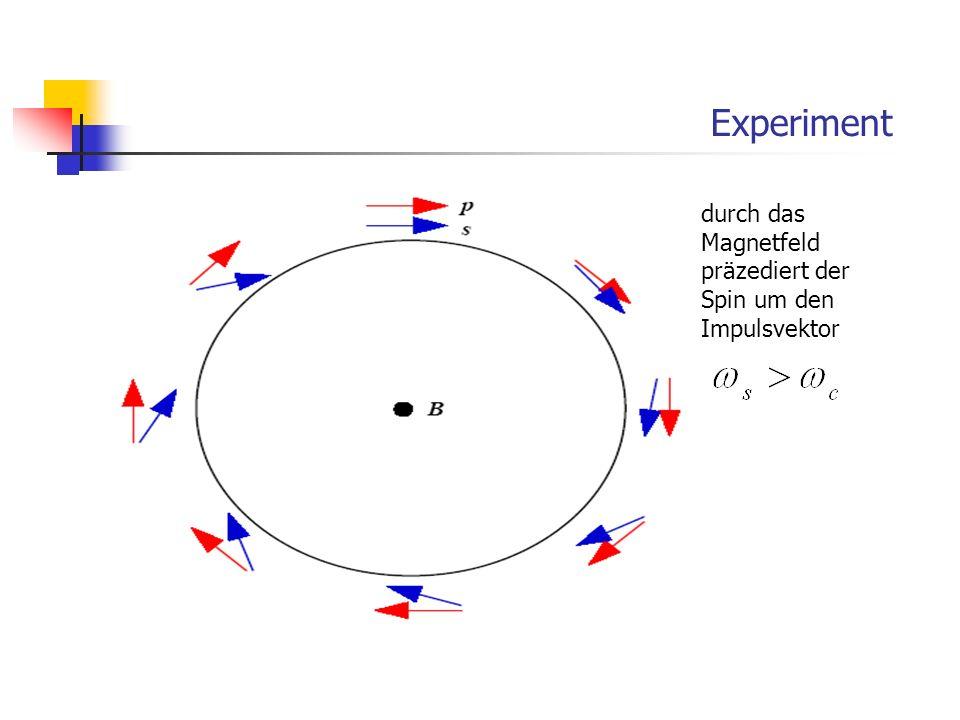 Experiment durch das Magnetfeld präzediert der Spin um den Impulsvektor