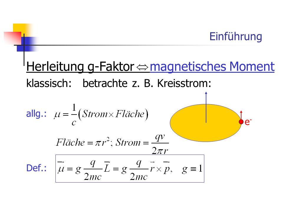 Einführung Herleitung g-Faktor magnetisches Moment