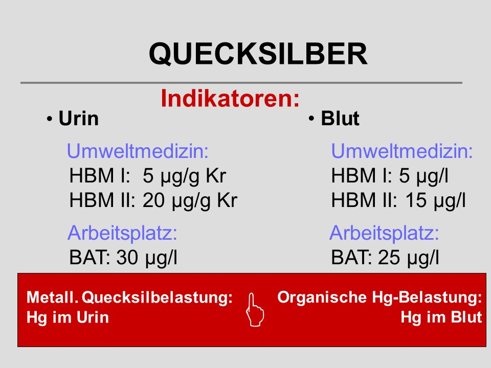 QUECKSILBER Indikatoren: Urin Umweltmedizin: HBM I: 5 µg/g Kr