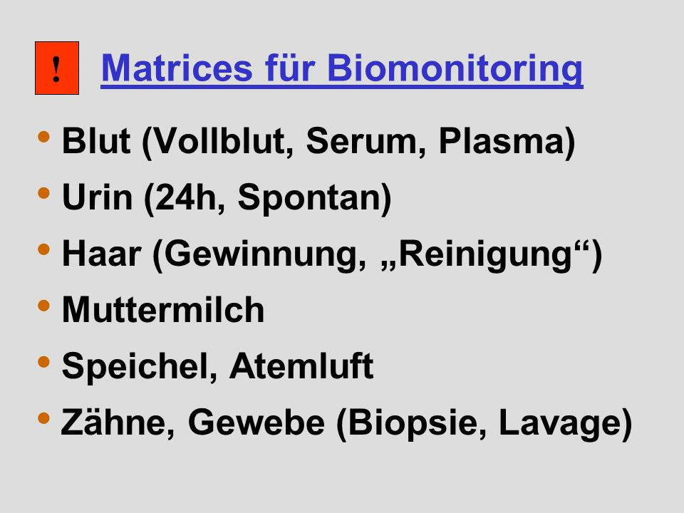 Matrices für Biomonitoring
