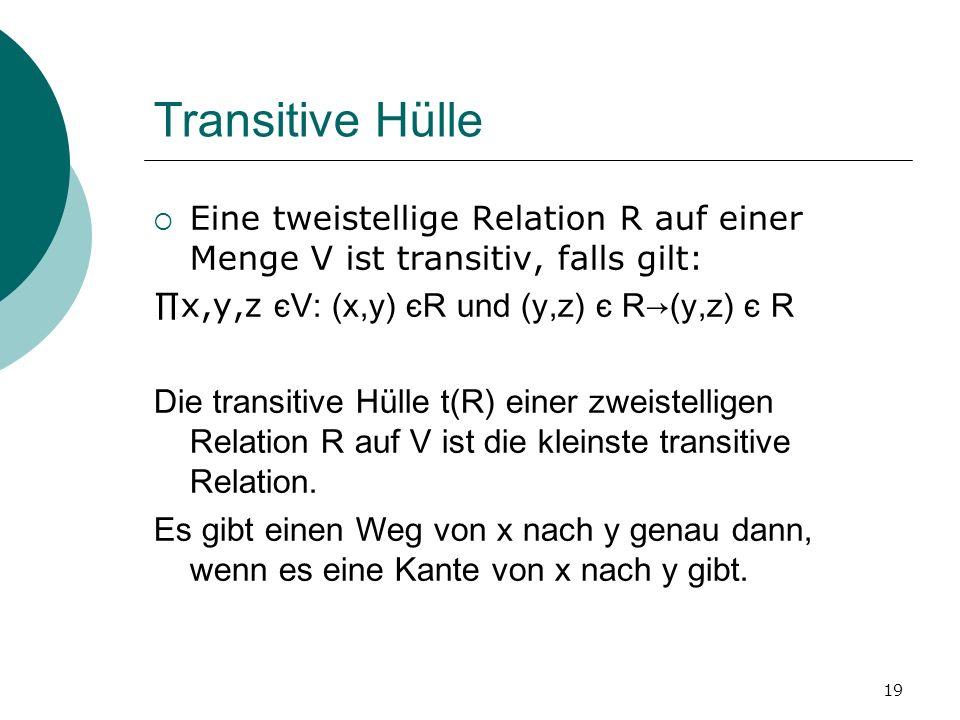 Transitive Hülle Eine tweistellige Relation R auf einer Menge V ist transitiv, falls gilt: ∏x,y,z єV: (x,y) єR und (y,z) є R→(y,z) є R.
