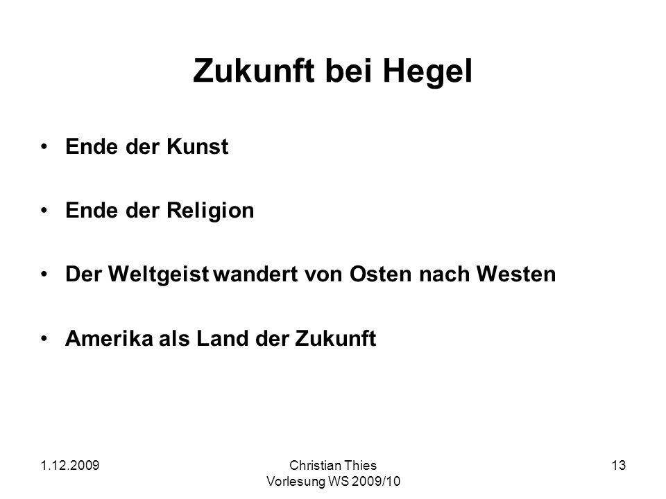 Zukunft bei Hegel Ende der Kunst Ende der Religion