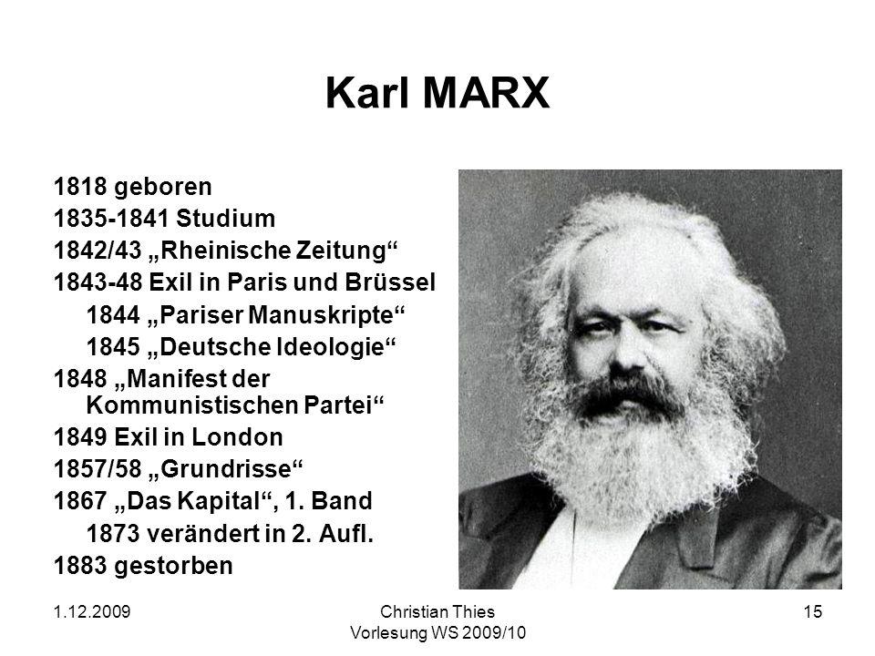 """Karl MARX 1818 geboren 1835-1841 Studium 1842/43 """"Rheinische Zeitung"""