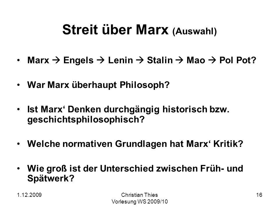 Streit über Marx (Auswahl)