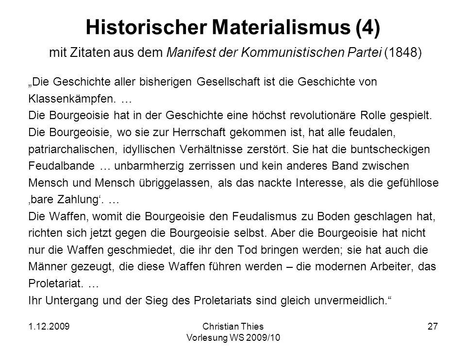 Historischer Materialismus (4) mit Zitaten aus dem Manifest der Kommunistischen Partei (1848)