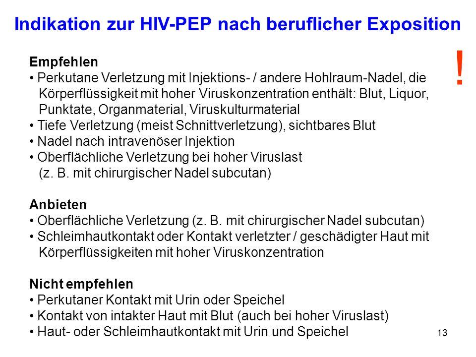 Indikation zur HIV-PEP nach beruflicher Exposition