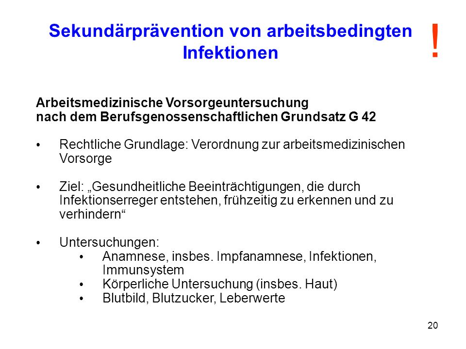 Sekundärprävention von arbeitsbedingten Infektionen
