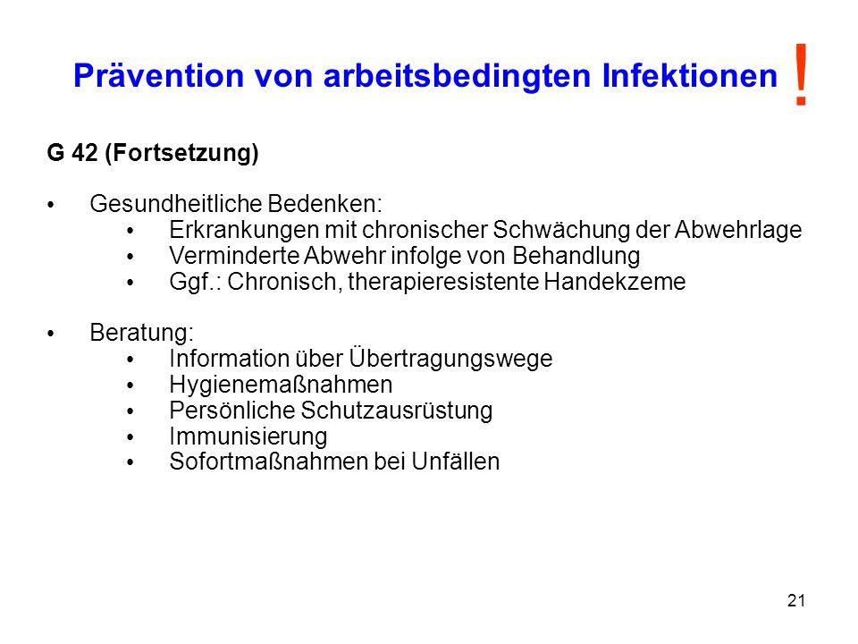 Prävention von arbeitsbedingten Infektionen