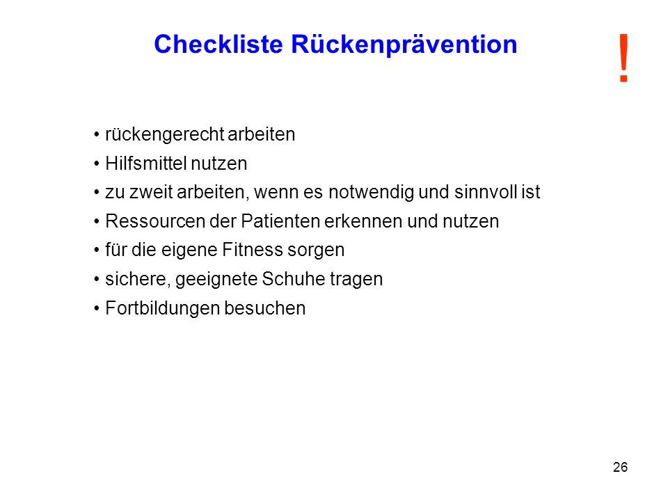 Checkliste Rückenprävention