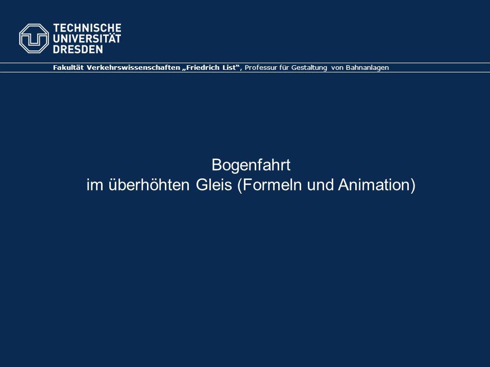 Bogenfahrt im überhöhten Gleis (Formeln und Animation)