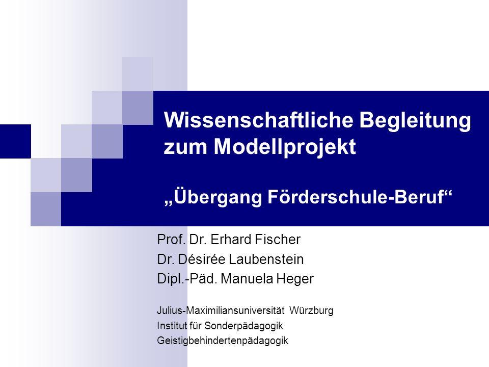 "Wissenschaftliche Begleitung zum Modellprojekt ""Übergang Förderschule-Beruf"