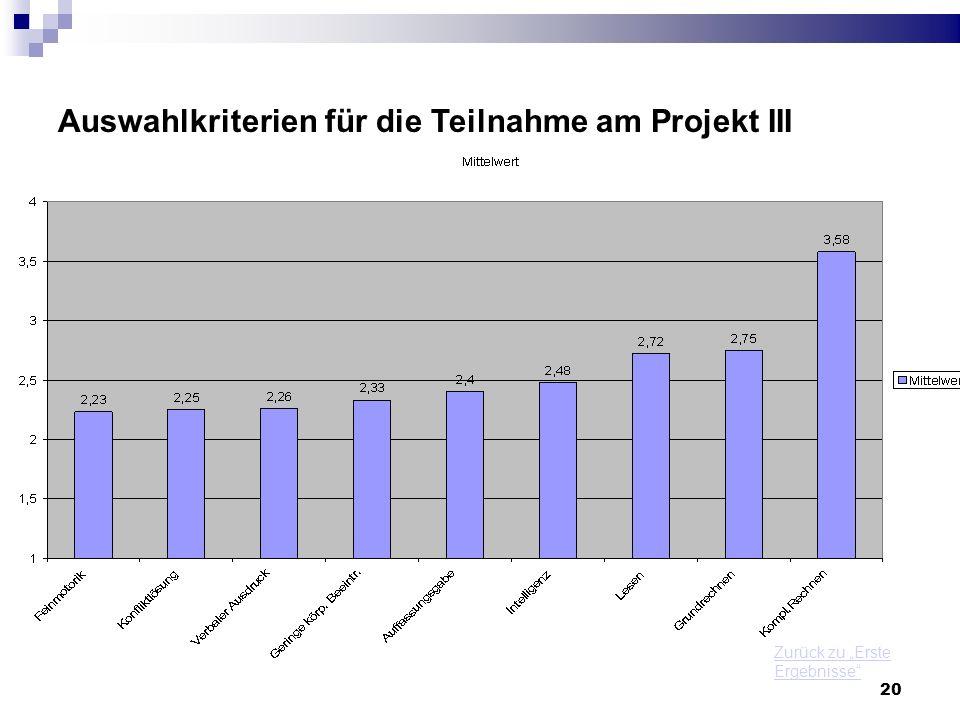 Auswahlkriterien für die Teilnahme am Projekt III
