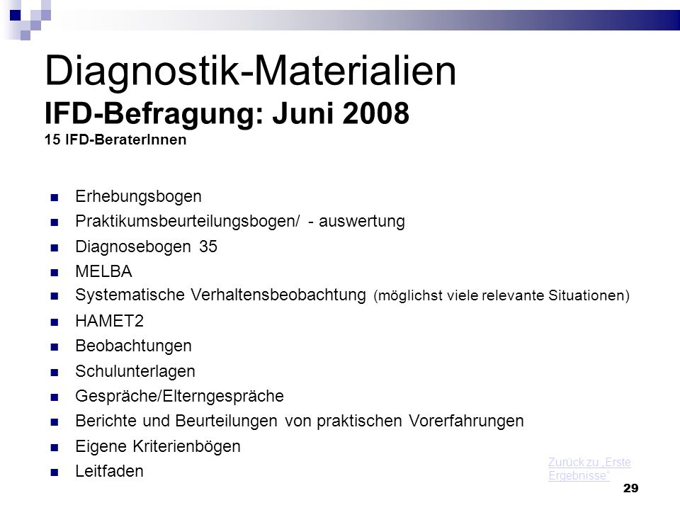 Diagnostik-Materialien IFD-Befragung: Juni 2008 15 IFD-BeraterInnen