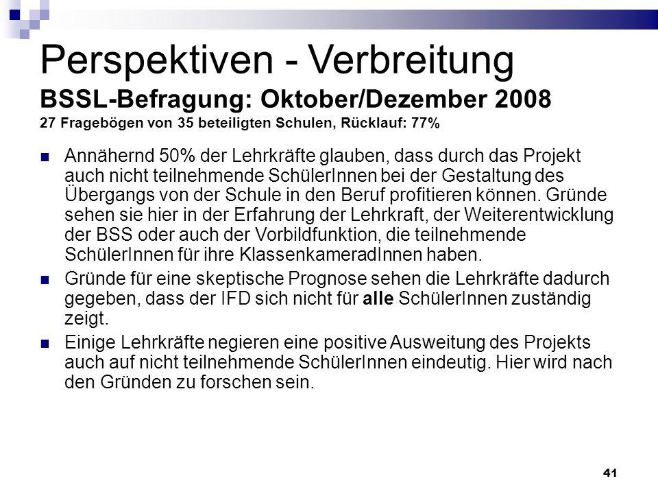 Perspektiven - Verbreitung BSSL-Befragung: Oktober/Dezember 2008 27 Fragebögen von 35 beteiligten Schulen, Rücklauf: 77%
