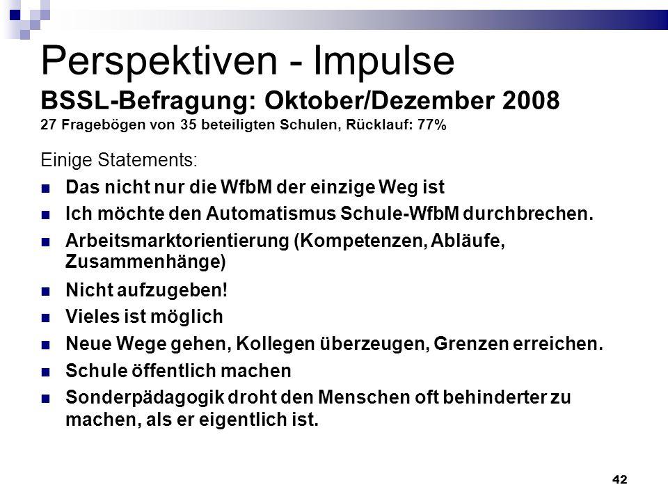 Perspektiven - Impulse BSSL-Befragung: Oktober/Dezember 2008 27 Fragebögen von 35 beteiligten Schulen, Rücklauf: 77%