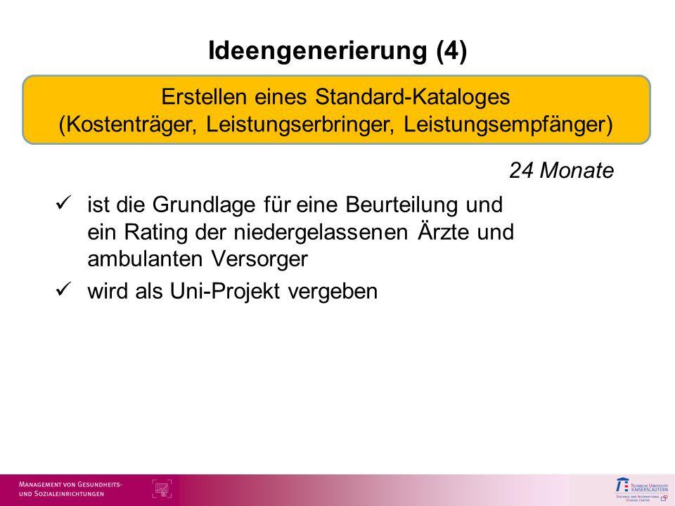 Ideengenerierung (4)Erstellen eines Standard-Kataloges (Kostenträger, Leistungserbringer, Leistungsempfänger)