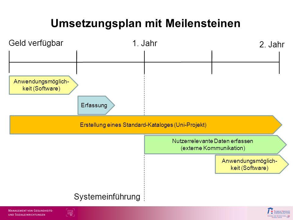 Umsetzungsplan mit Meilensteinen