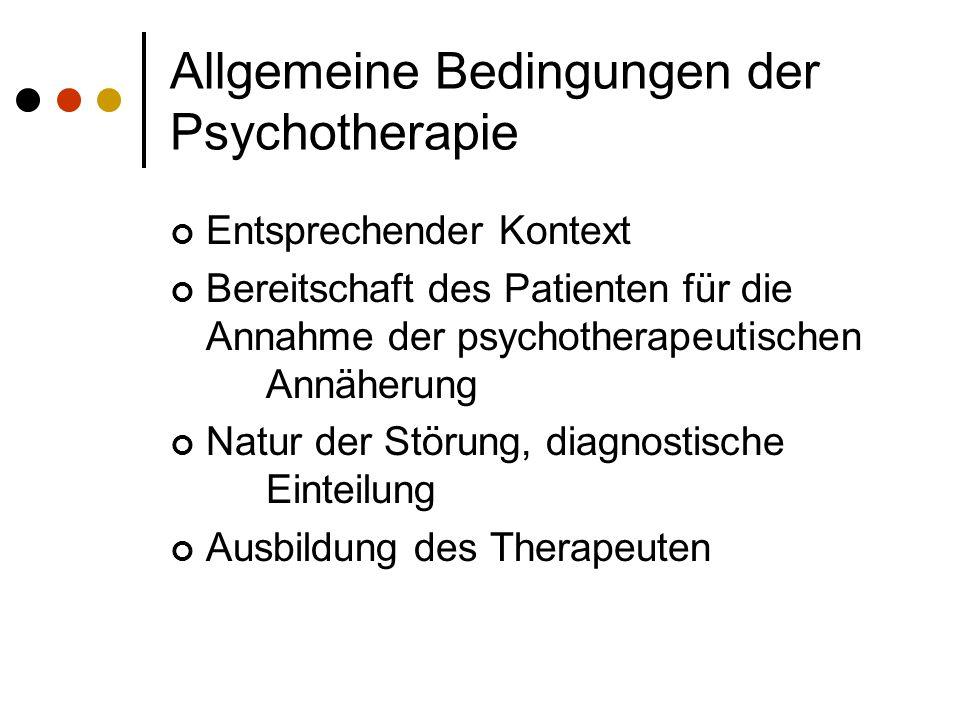 Allgemeine Bedingungen der Psychotherapie