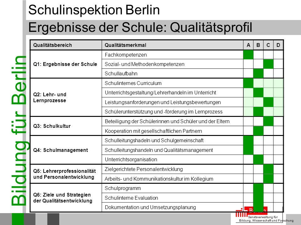 Ergebnisse der Schule: Qualitätsprofil