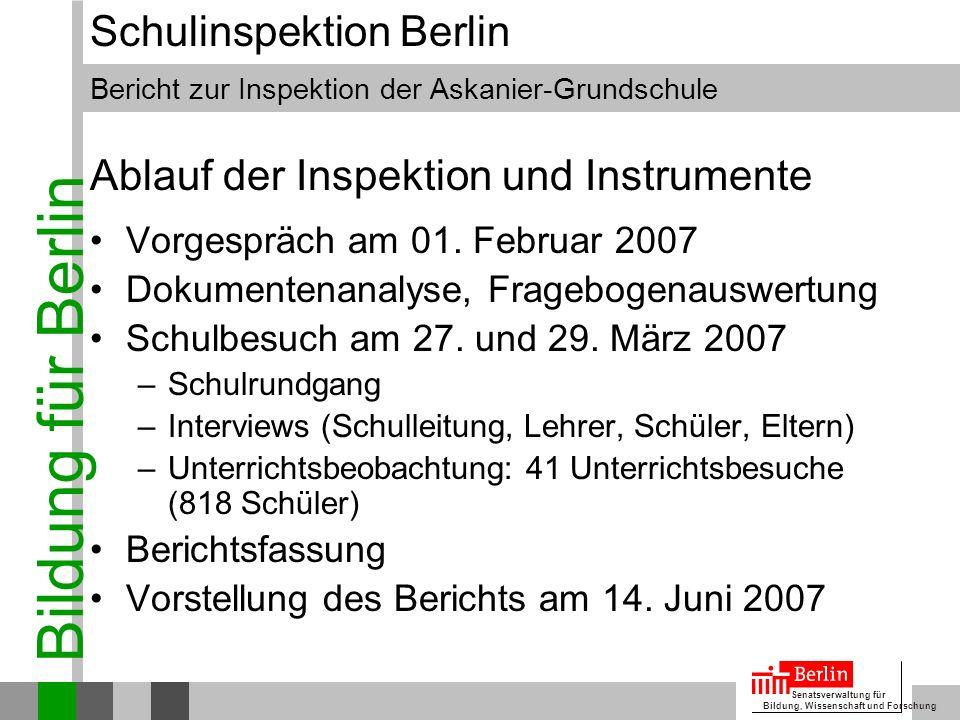 Ablauf der Inspektion und Instrumente