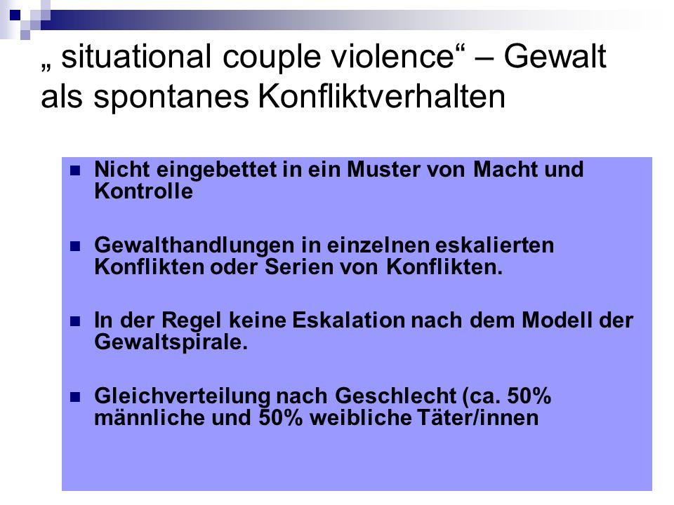 """"""" situational couple violence – Gewalt als spontanes Konfliktverhalten"""