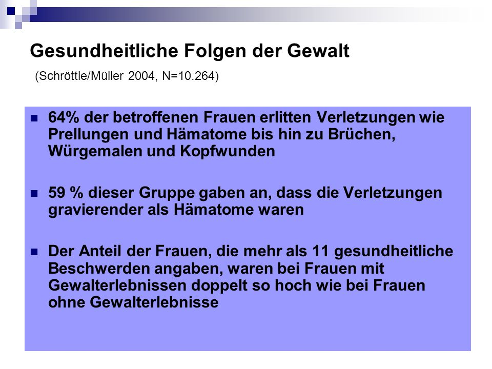 Gesundheitliche Folgen der Gewalt (Schröttle/Müller 2004, N=10.264)