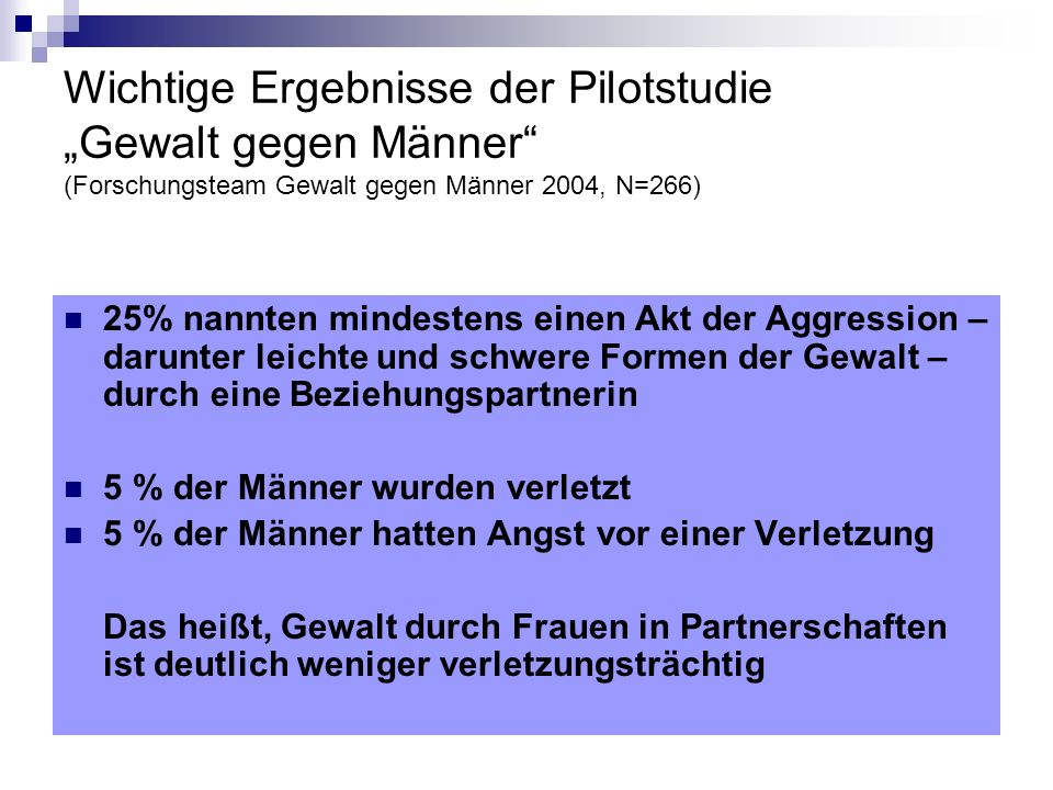 """Wichtige Ergebnisse der Pilotstudie """"Gewalt gegen Männer (Forschungsteam Gewalt gegen Männer 2004, N=266)"""