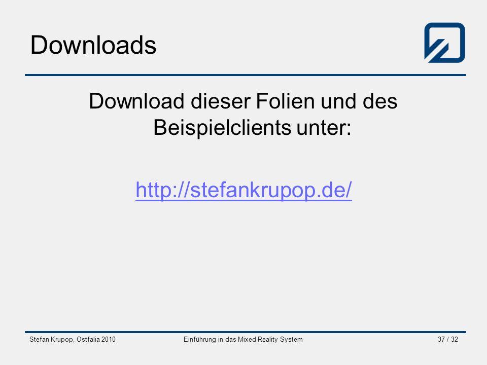 Downloads Download dieser Folien und des Beispielclients unter: