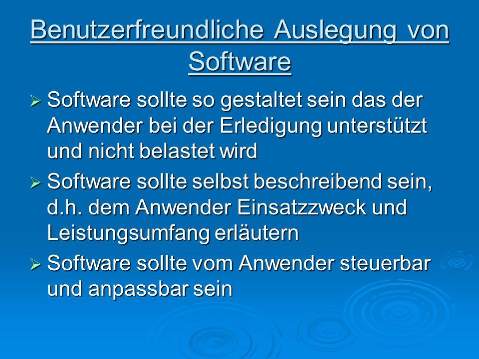 Benutzerfreundliche Auslegung von Software